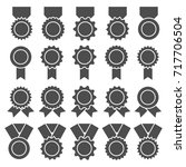 set of medals  badges or awards ... | Shutterstock . vector #717706504