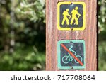 Sign On A Wooden Trail Marker ...