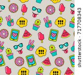 funky pattern with patches  | Shutterstock .eps vector #717708343