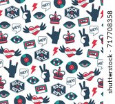 vector seamless rock and roll... | Shutterstock .eps vector #717708358