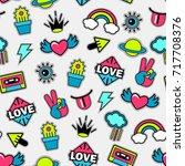 trendy seamless vector  pattern ... | Shutterstock .eps vector #717708376