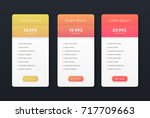 set of flat price list. three... | Shutterstock .eps vector #717709663