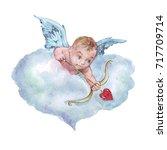 cupid shooting arrow watercolor ... | Shutterstock . vector #717709714