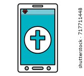 smartphone device with medical... | Shutterstock .eps vector #717711448