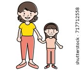 mother with daughter avatars... | Shutterstock .eps vector #717712558