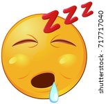 sleeping emoji with mouth open... | Shutterstock .eps vector #717717040