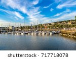 trouville and touques river in... | Shutterstock . vector #717718078
