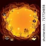 halloween layered border for... | Shutterstock .eps vector #717724858