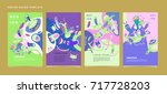 colorful abstract liquid and... | Shutterstock .eps vector #717728203