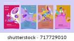 colorful abstract liquid and... | Shutterstock .eps vector #717729010