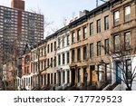 row of historic brownstone... | Shutterstock . vector #717729523