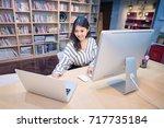 young asian business freelancer ... | Shutterstock . vector #717735184