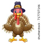 cartoon happy turkey | Shutterstock . vector #717737146