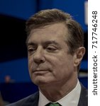 Small photo of Cleveland Ohio, USA, 17th July, 2016 Paul Manafort Donald Trump's campaign manager on the floor of the Quicken Arena talking to reporters prior to the start of the Republican National Convention