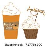 pumpkin spice latte and muffin   Shutterstock . vector #717756100