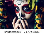 closeup portrait of calavera... | Shutterstock . vector #717758833