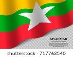 waving flag of myanmar on...   Shutterstock .eps vector #717763540