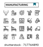 manufacturing icon set vector... | Shutterstock .eps vector #717764890