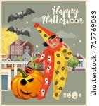 happy halloween vector greeting ... | Shutterstock .eps vector #717769063