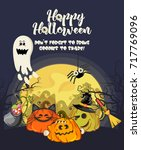 happy halloween vector greeting ...   Shutterstock .eps vector #717769096
