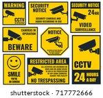 security camera sticker  video... | Shutterstock .eps vector #717772666