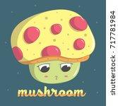 cute mushroom moon vector... | Shutterstock .eps vector #717781984