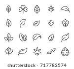 premium set of leaf line icons. ...   Shutterstock .eps vector #717783574