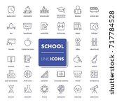 line icons set. school pack.... | Shutterstock .eps vector #717784528