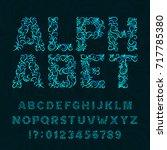 ornate typeface. ornamental... | Shutterstock .eps vector #717785380
