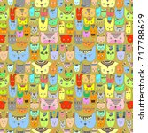 colorful cute cats and dogs ... | Shutterstock .eps vector #717788629