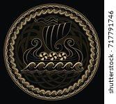 viking drakkar. drakkar ship... | Shutterstock .eps vector #717791746