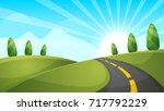 cartoon landscape illustration. ... | Shutterstock .eps vector #717792229