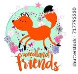woodland friends with cute  fox ... | Shutterstock .eps vector #717793330