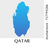 qatar map in asia continent... | Shutterstock .eps vector #717795286
