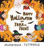 children dressed in halloween... | Shutterstock .eps vector #717795913