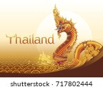 thai dragon or serpent king or... | Shutterstock .eps vector #717802444