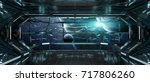 spaceship dark interior with... | Shutterstock . vector #717806260