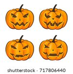 set with a terrible pumpkin for ... | Shutterstock .eps vector #717806440