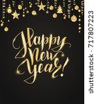 happy new year card with hand... | Shutterstock .eps vector #717807223