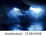 car driving through heavy rain...   Shutterstock . vector #717814438