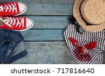 still life of various items for ... | Shutterstock . vector #717816640