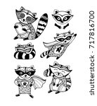 funny raccoons. set collection. ... | Shutterstock .eps vector #717816700