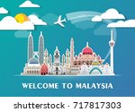 malaysia landmark global travel ... | Shutterstock .eps vector #717817303