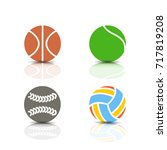 set of game icons  balls with a ... | Shutterstock .eps vector #717819208
