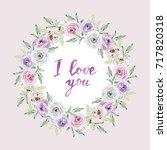 watercolor card in pastel... | Shutterstock . vector #717820318