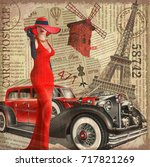 Vintage Poster Paris Torn...
