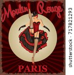 retro poster with cancan dancer. | Shutterstock .eps vector #717821293