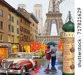 rainy paris vintage poster. | Shutterstock .eps vector #717821629