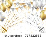 gold and silver balloons ... | Shutterstock .eps vector #717822583