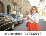 beautiful stylish overweight...   Shutterstock . vector #717822994